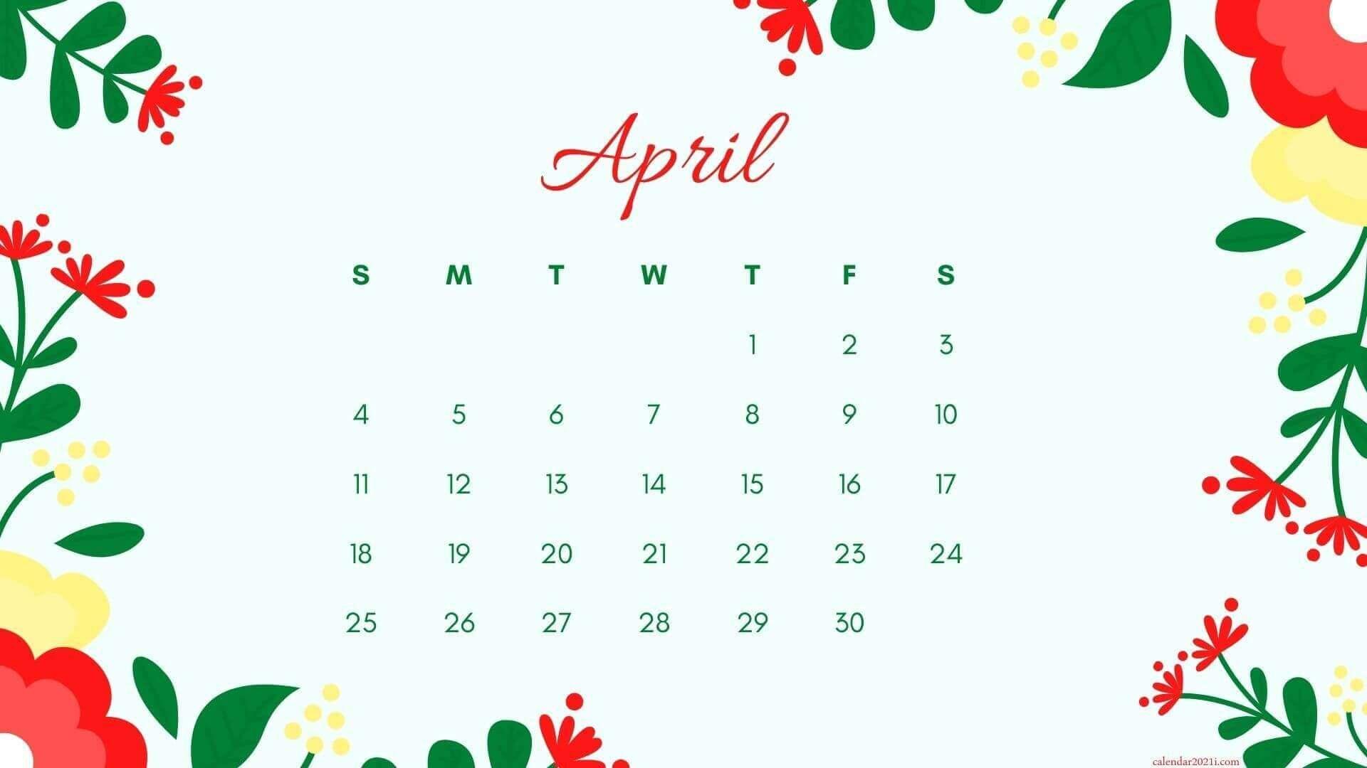Floral April 2021 HD Calendar Wallpaper