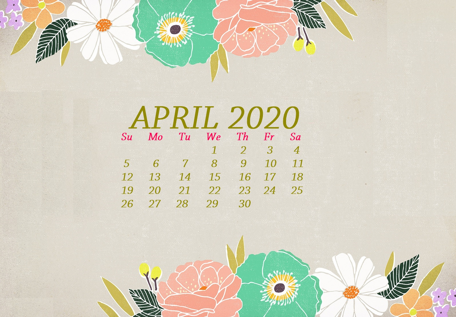 Floral Calendar Wallpaper April 2020