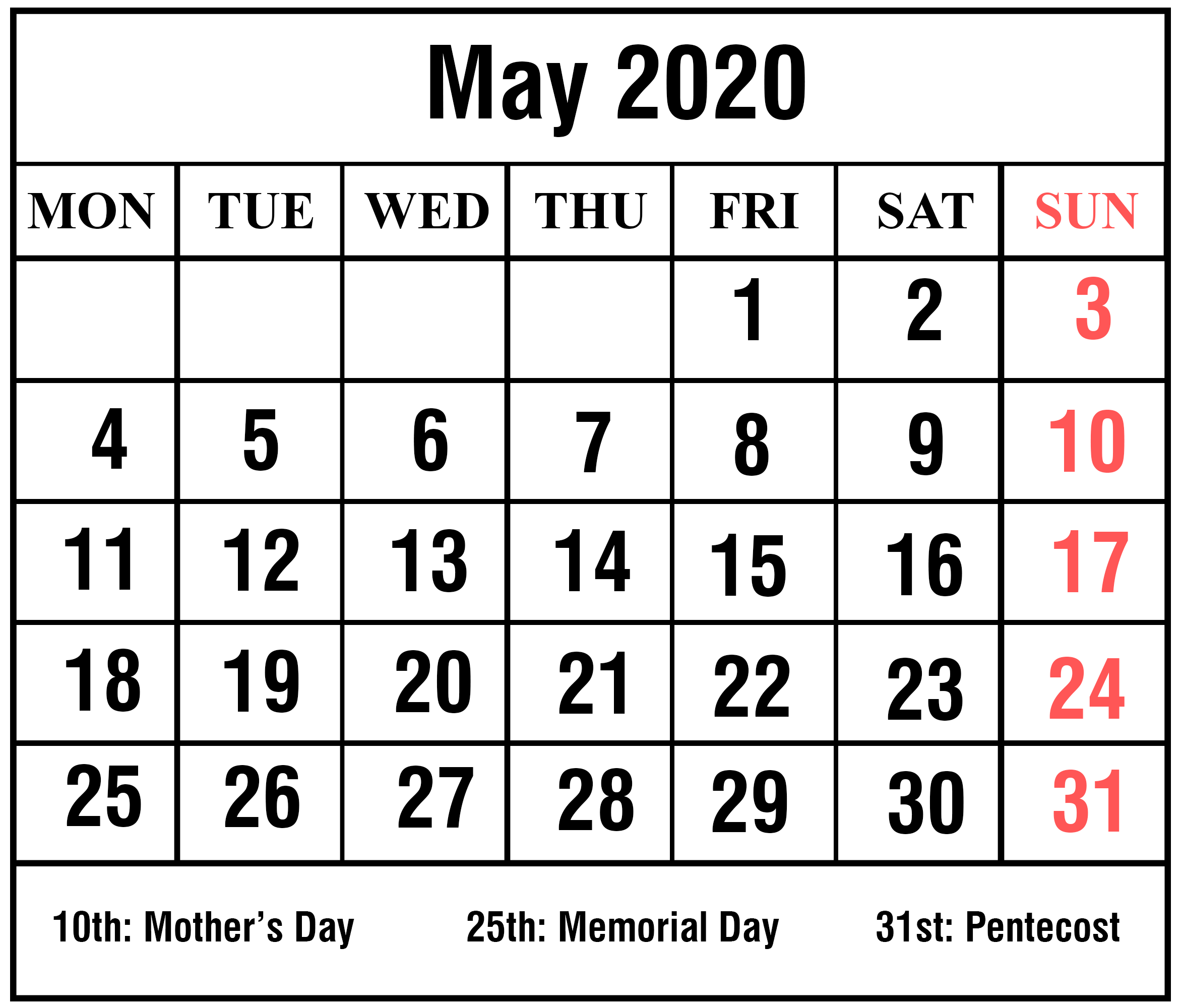 Holidays Calendar May 2020 Printable