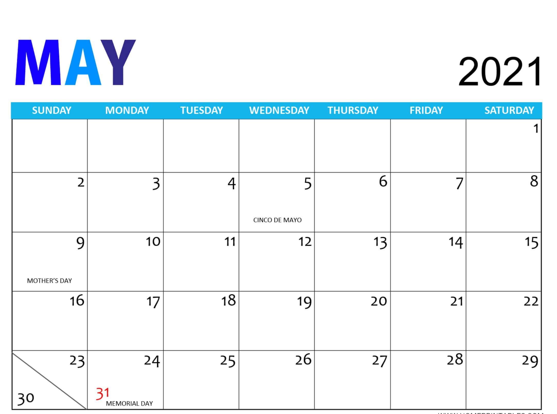 Holidays Calendar May 2021