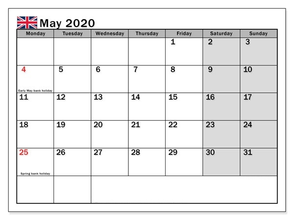 May 2020 United Kingdom Holidays Calendar