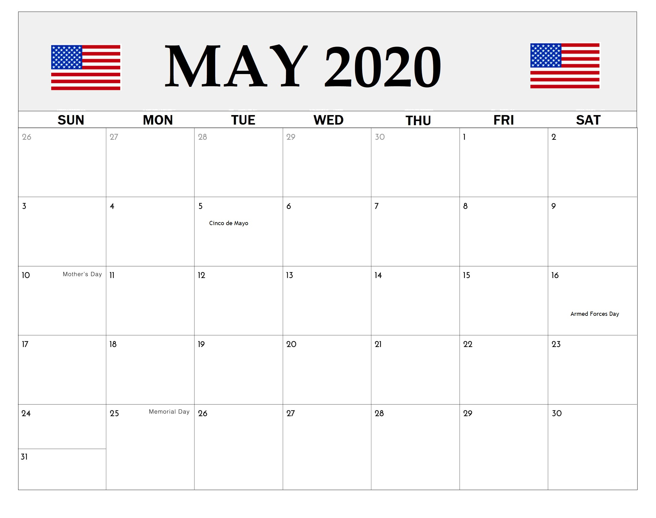 May 2020 United States Holidays Calendar