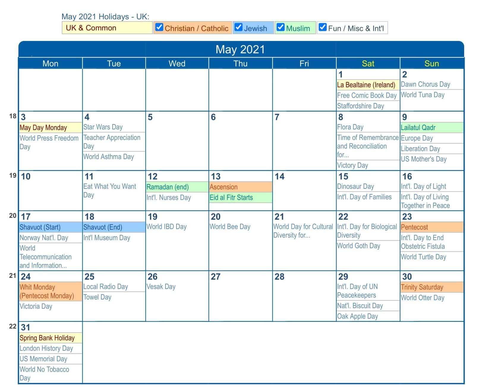 May 2021 UK Holidays Calendar