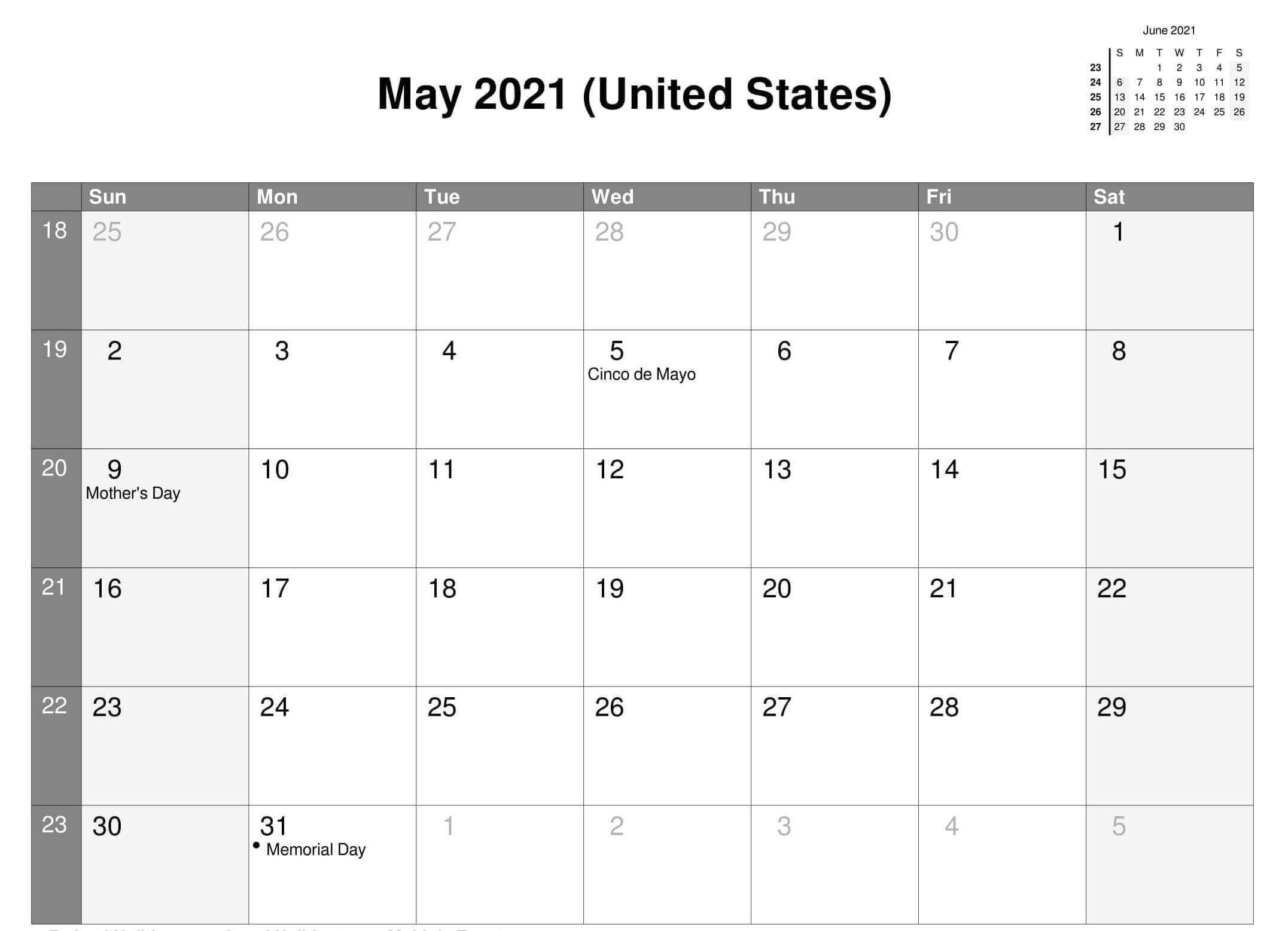 May 2021 USA Holidays Calendar