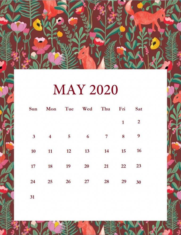 Floral May 2020 Calendar Wallpaper