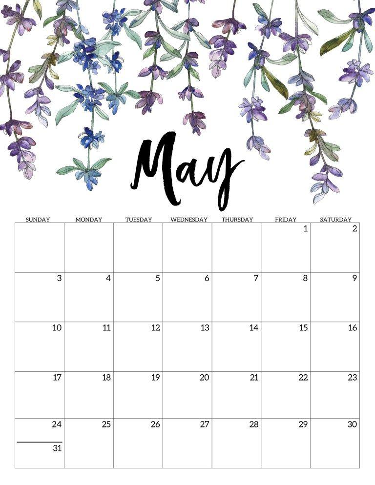 Floral May 2020 Printable Calendar