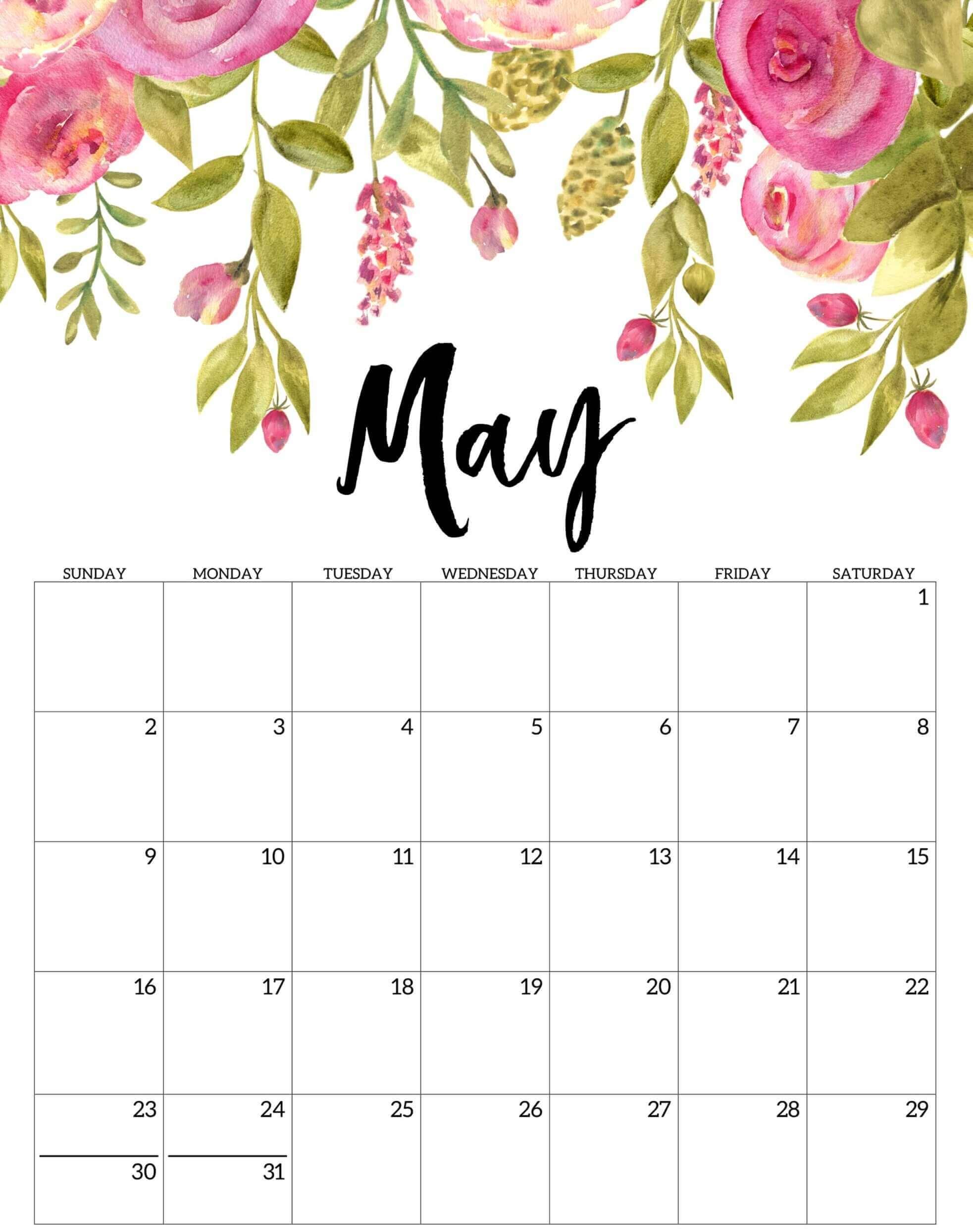 Floral May 2021 Calendar Template
