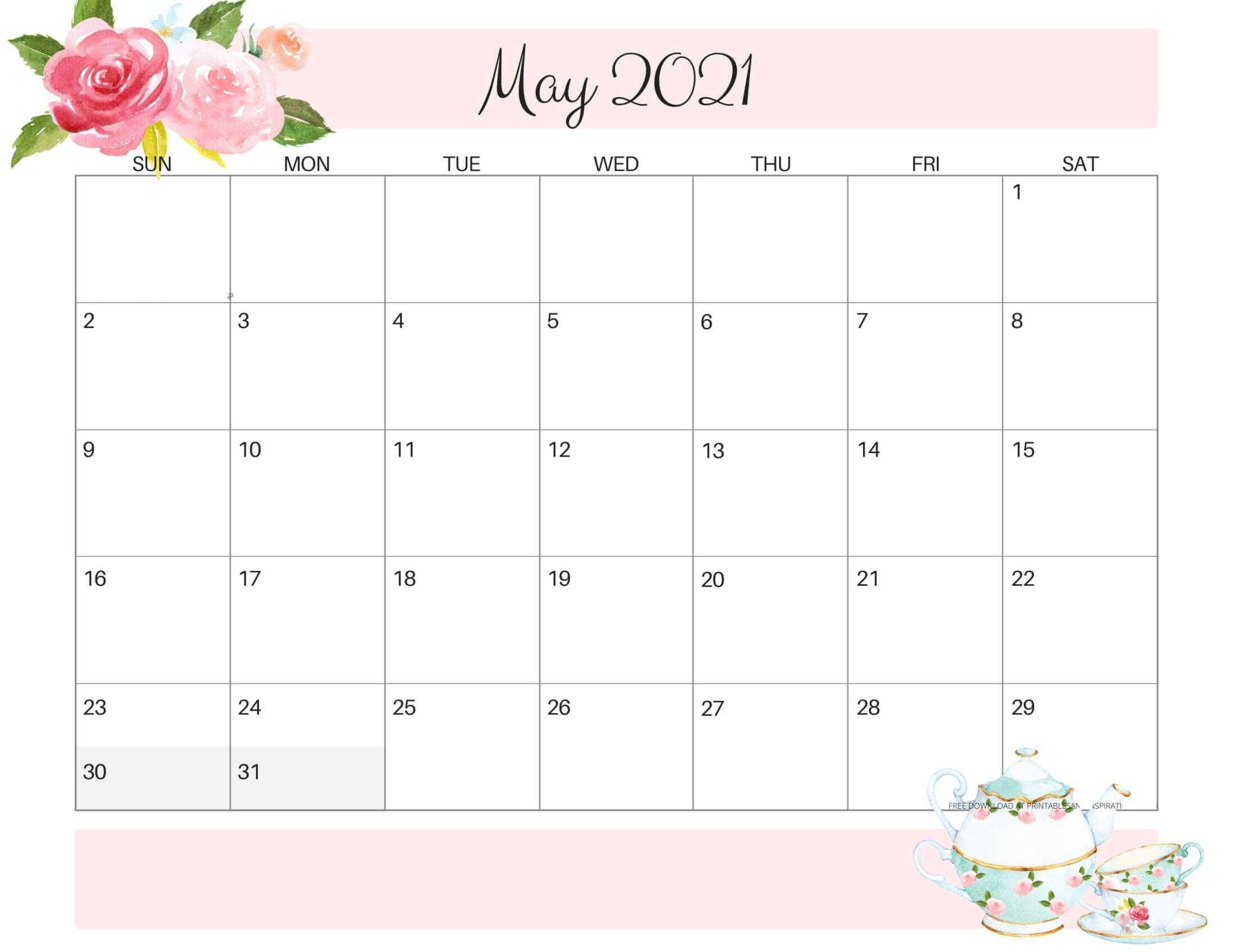 Floral May 2021 Desk Calendar