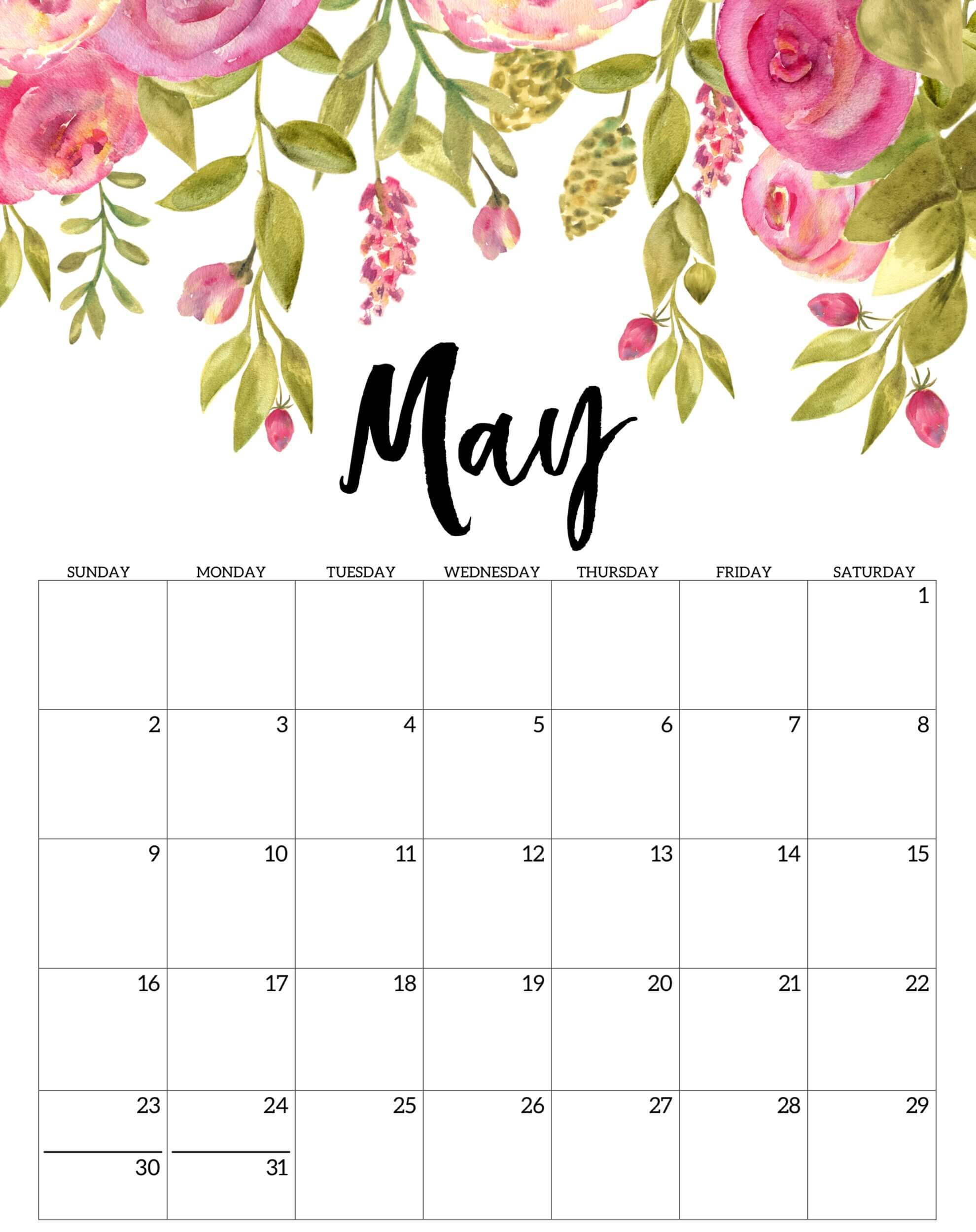 Free Printable May 2021 Floral Calendar