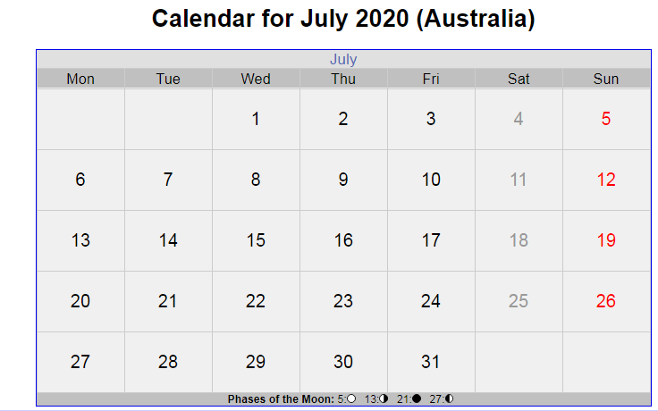 July 2020 Calendar Australia