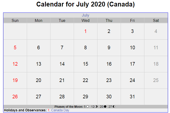 July 2020 Calendar Canada with Holidays