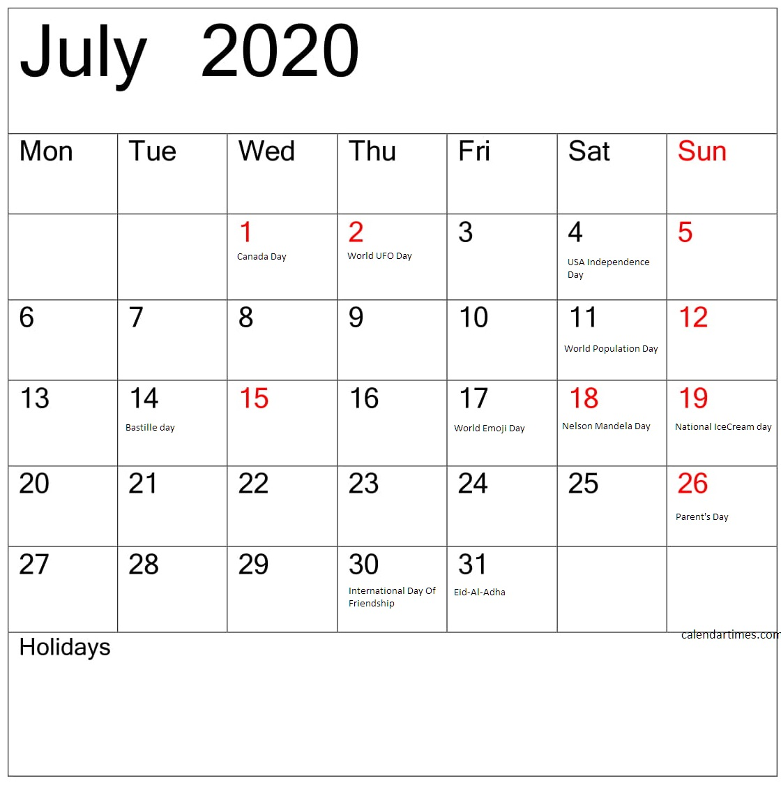 July 2020 Calendar With Holidays And Events