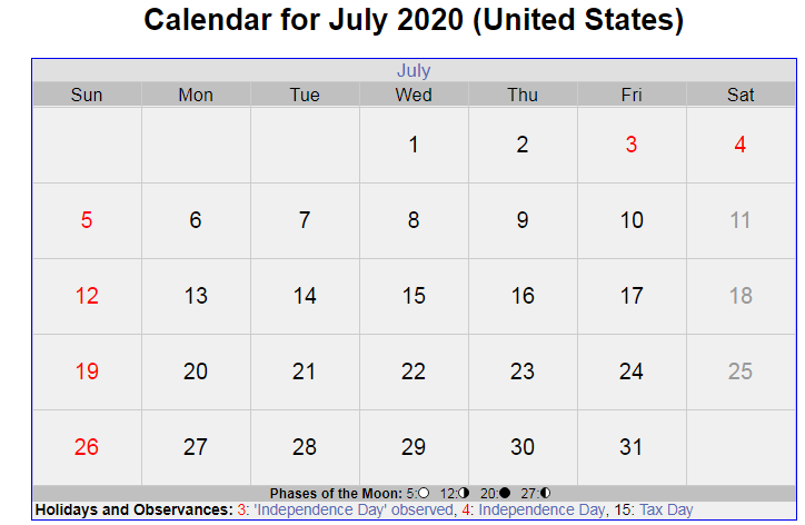 July 2020 Calendar With USA Holidays