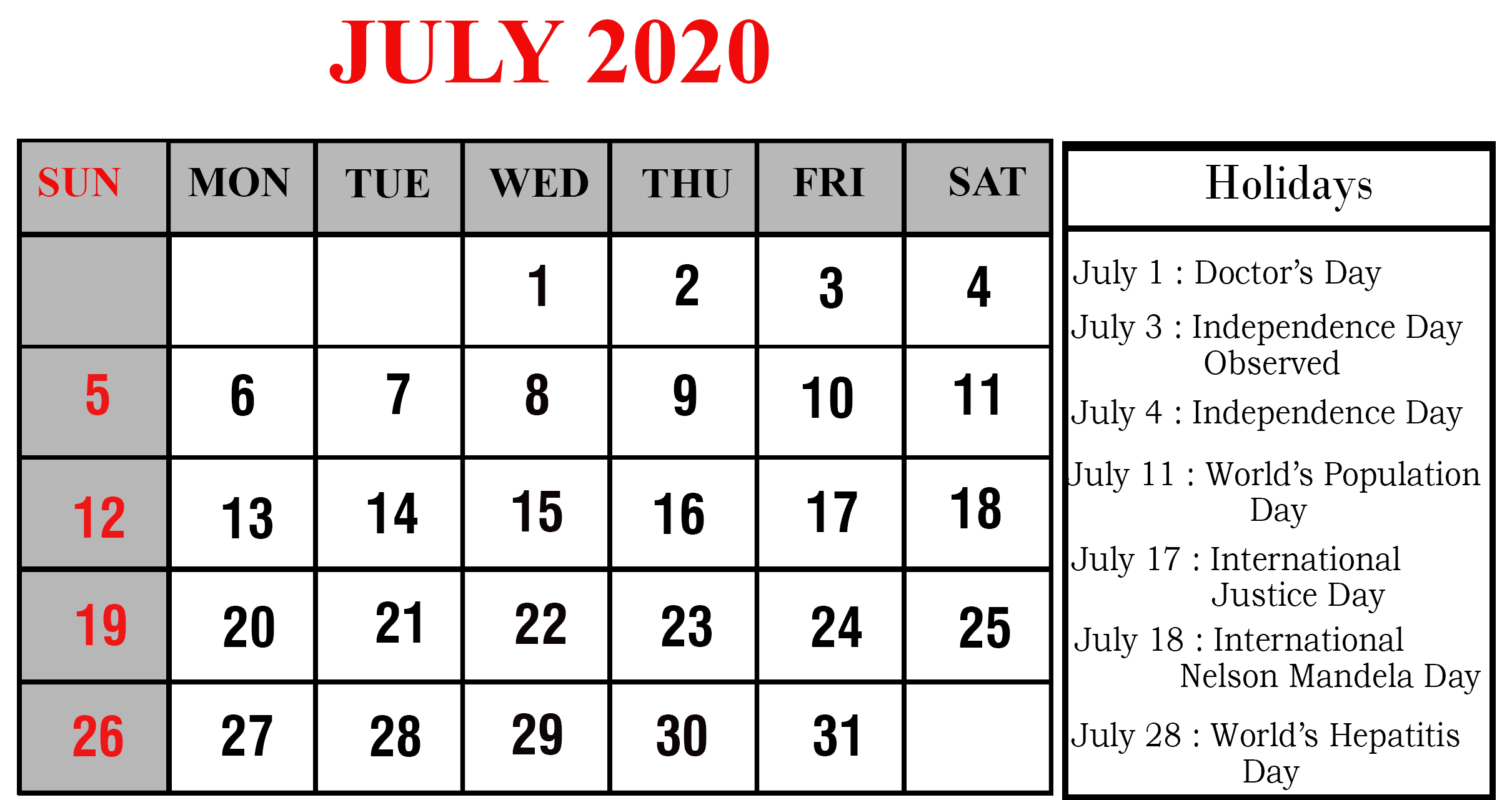 July 2020 Holidays Calendar