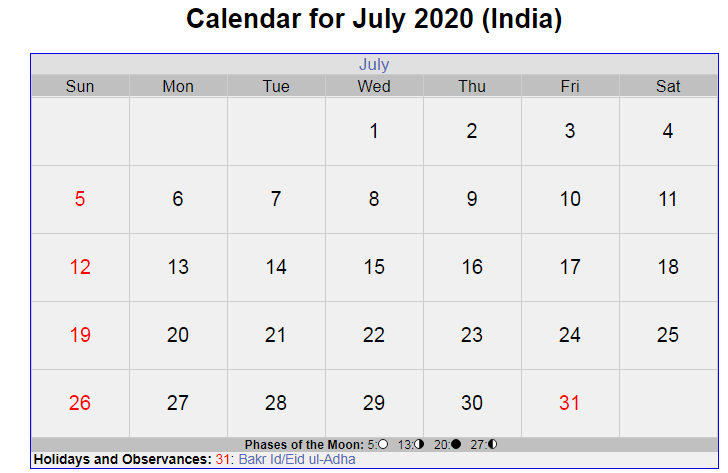 July 2020 India Holidays Calendar