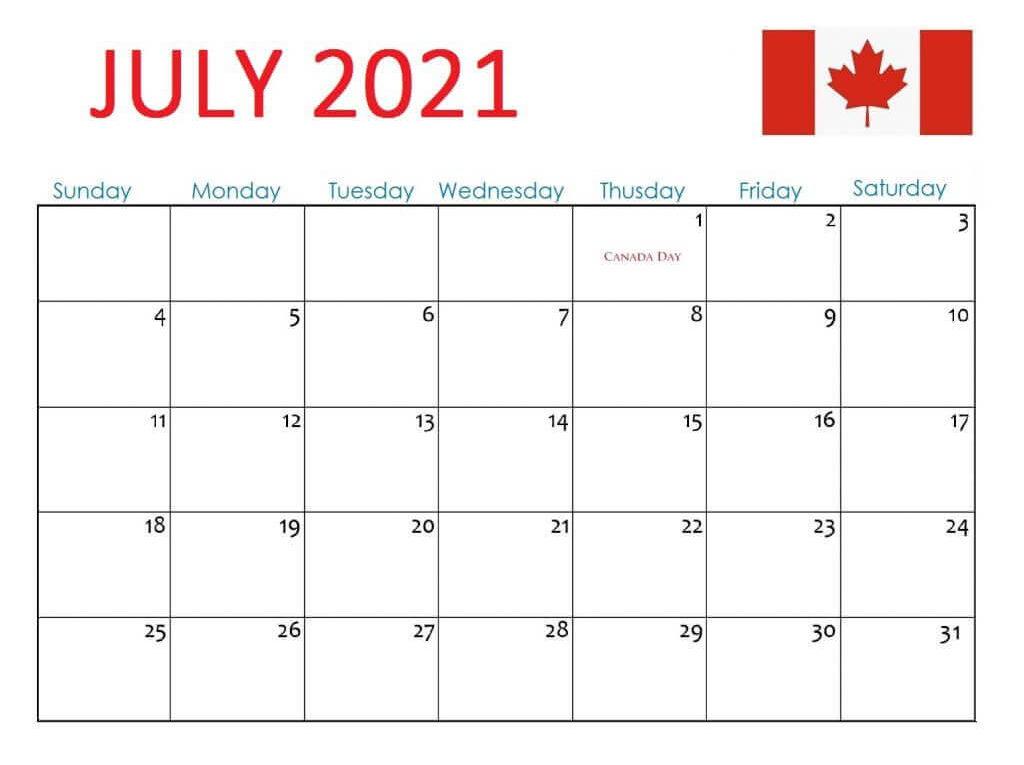 July 2021 Canada Holidays Calendar