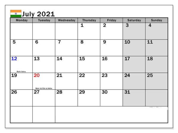 July 2021 India holidays Calendar