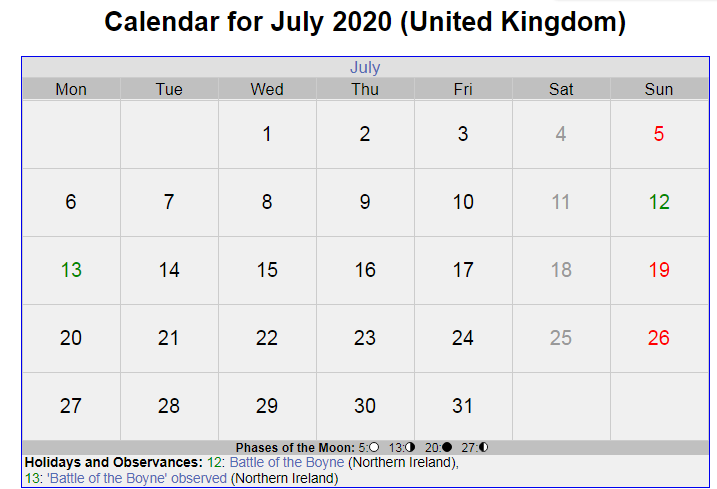 UK Holidays Calendar of July Month