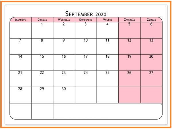 2020 September Kalender