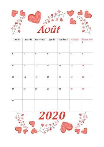 Août 2020 Calendrier Mignon