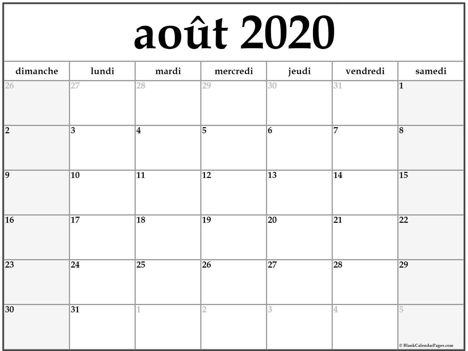 Aout 2020 Calendrier Modele