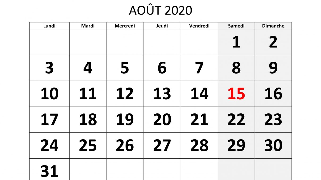 Calendrier Aout 2020