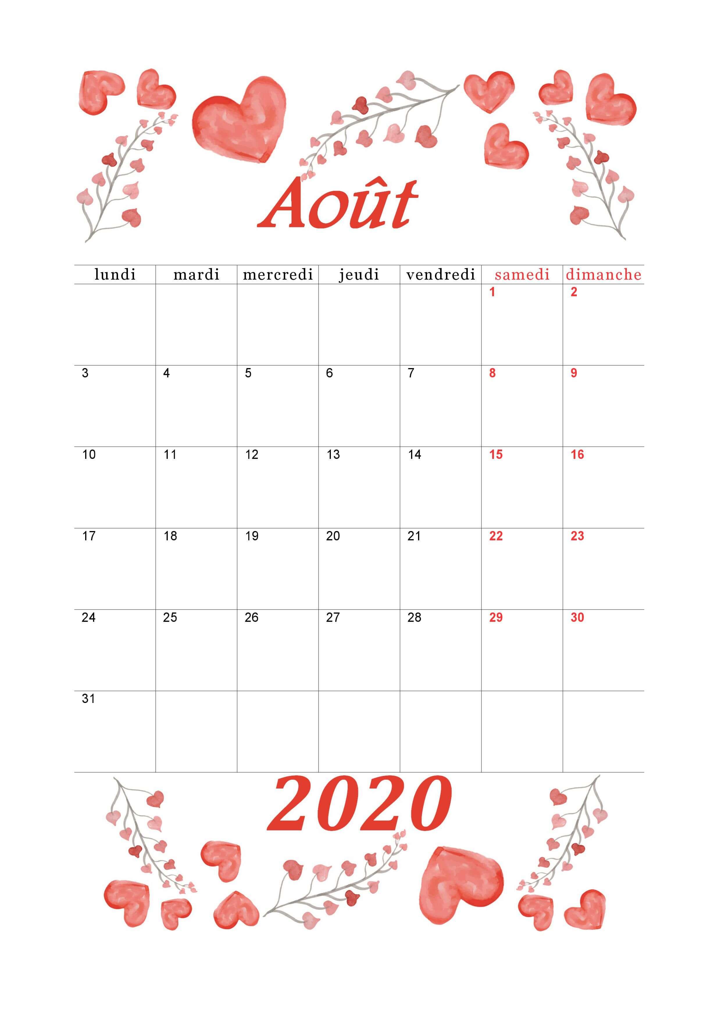 Calendrier Aout 2020 Floral