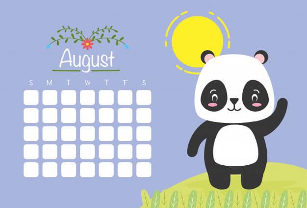 Calendrier D'août Avec Panda Mignon