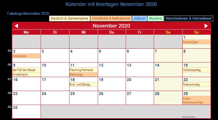 Deutschland Kalender November 2020