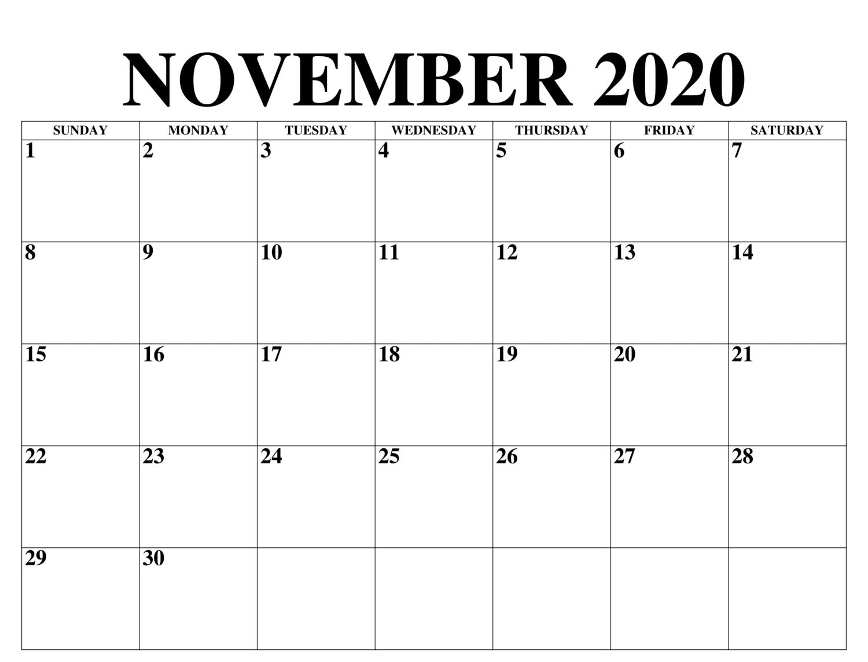 Drucken November 2020 Kalender