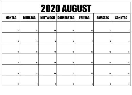 Kalender August 2020 Zum Ausdrucken Kostenlos