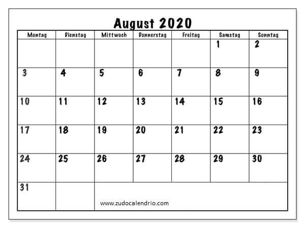Kalender August 2020 Zum Ausdrucken Notizen