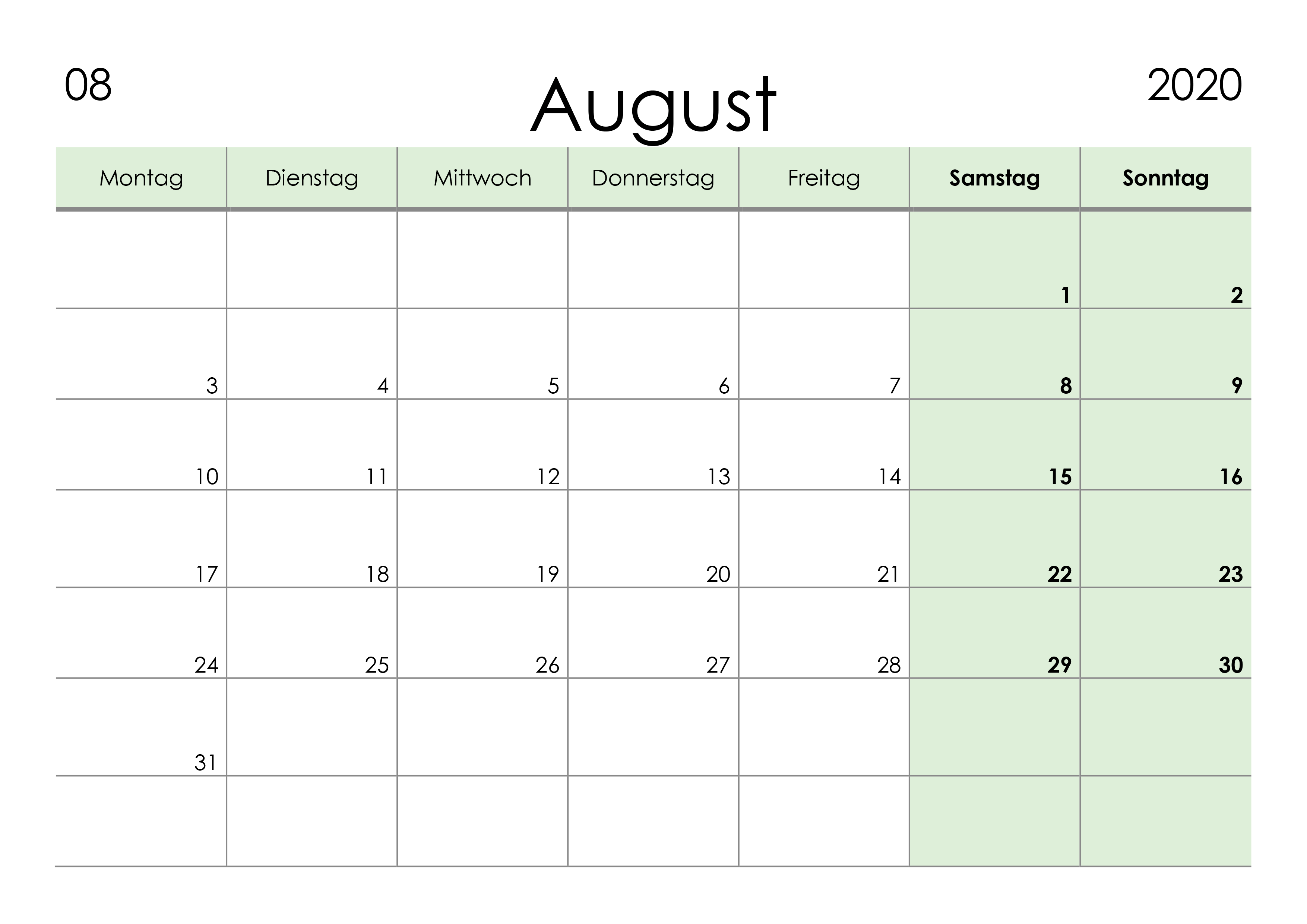 Kalender August 2020 kleine Ziffern im Querformat
