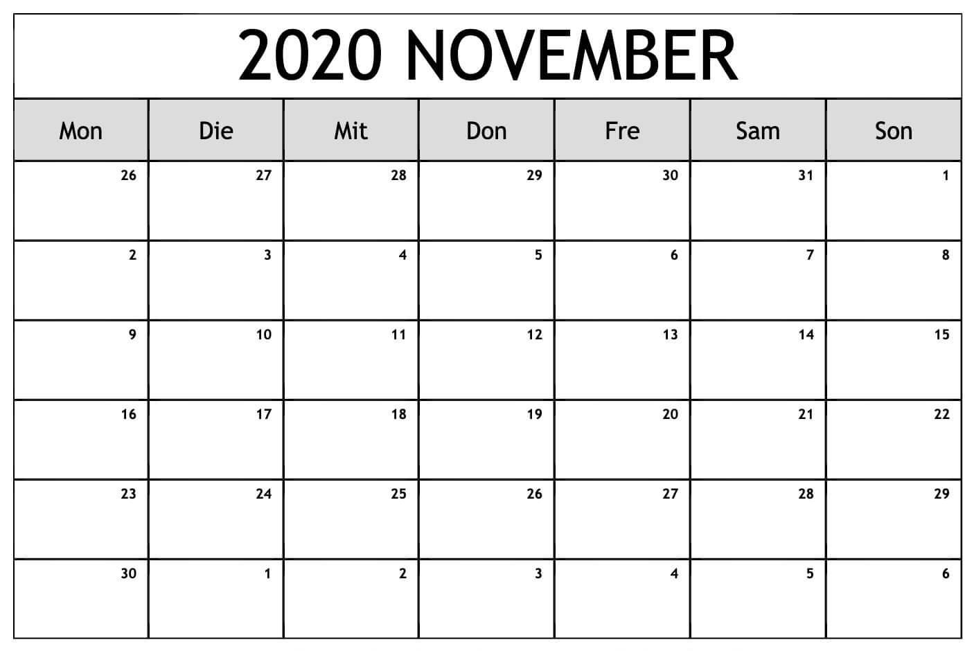 Kalender Fur November 2020