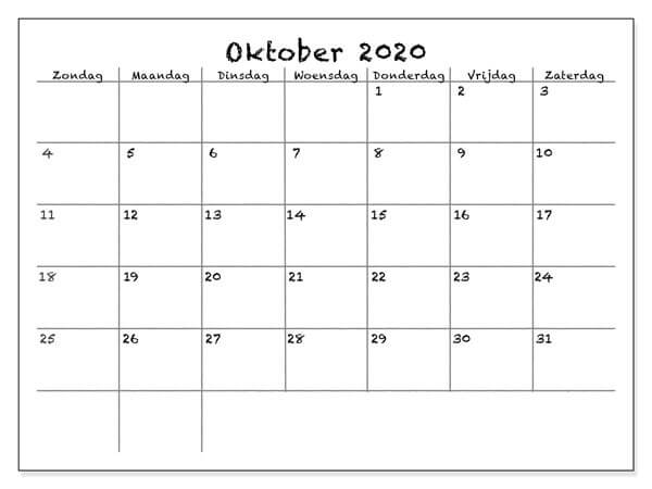 Kalender Oktober 2020 Monatlich