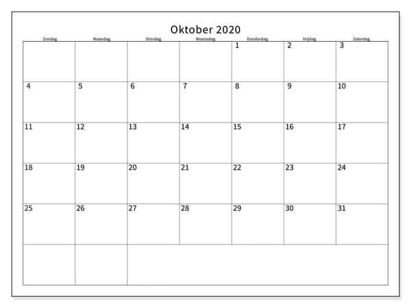 Kalender Oktober 2020 Monats