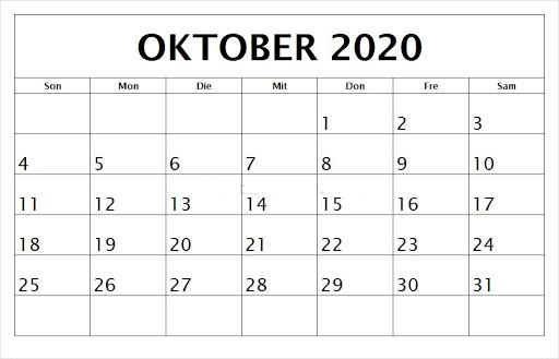 Kalender Oktober 2020 Zum Ausdrucken Leer