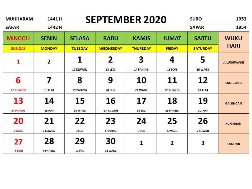 Kalender September 2020 Indonesia