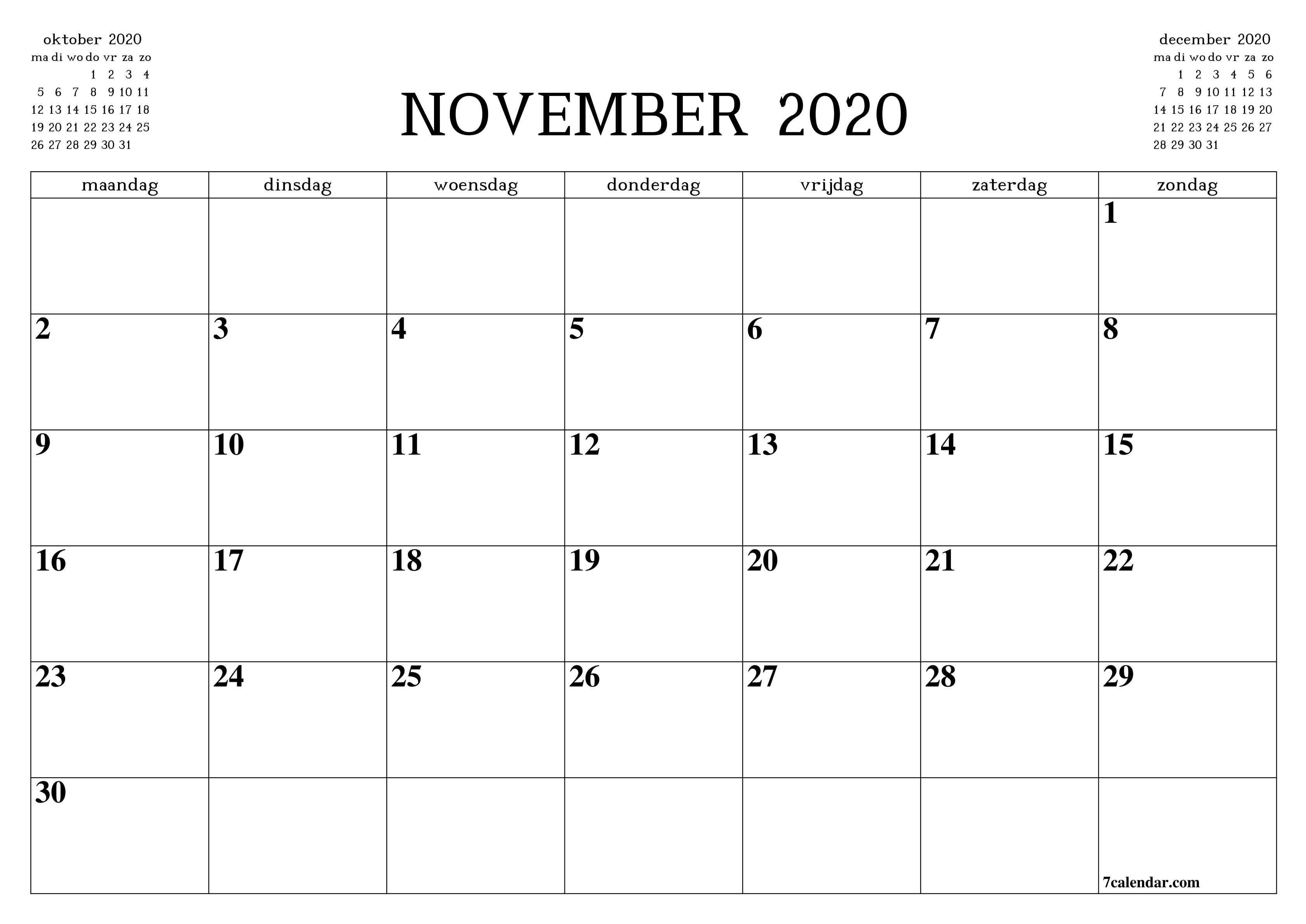 Kalendervorlage November 2020