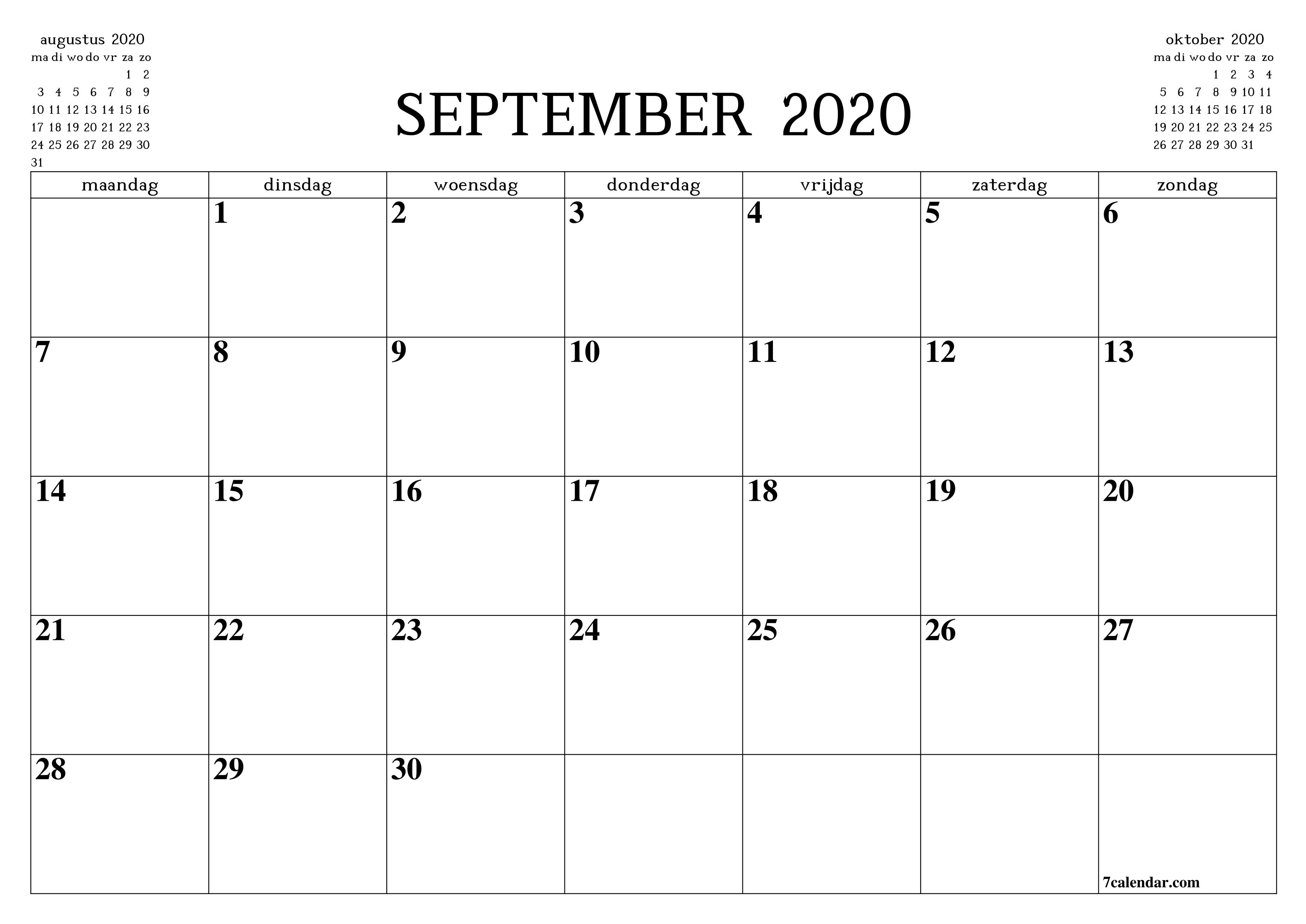 Leere September 2020 Kalender