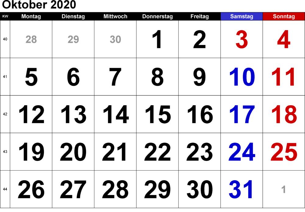 Oktober 2020 Kalender Vorlage