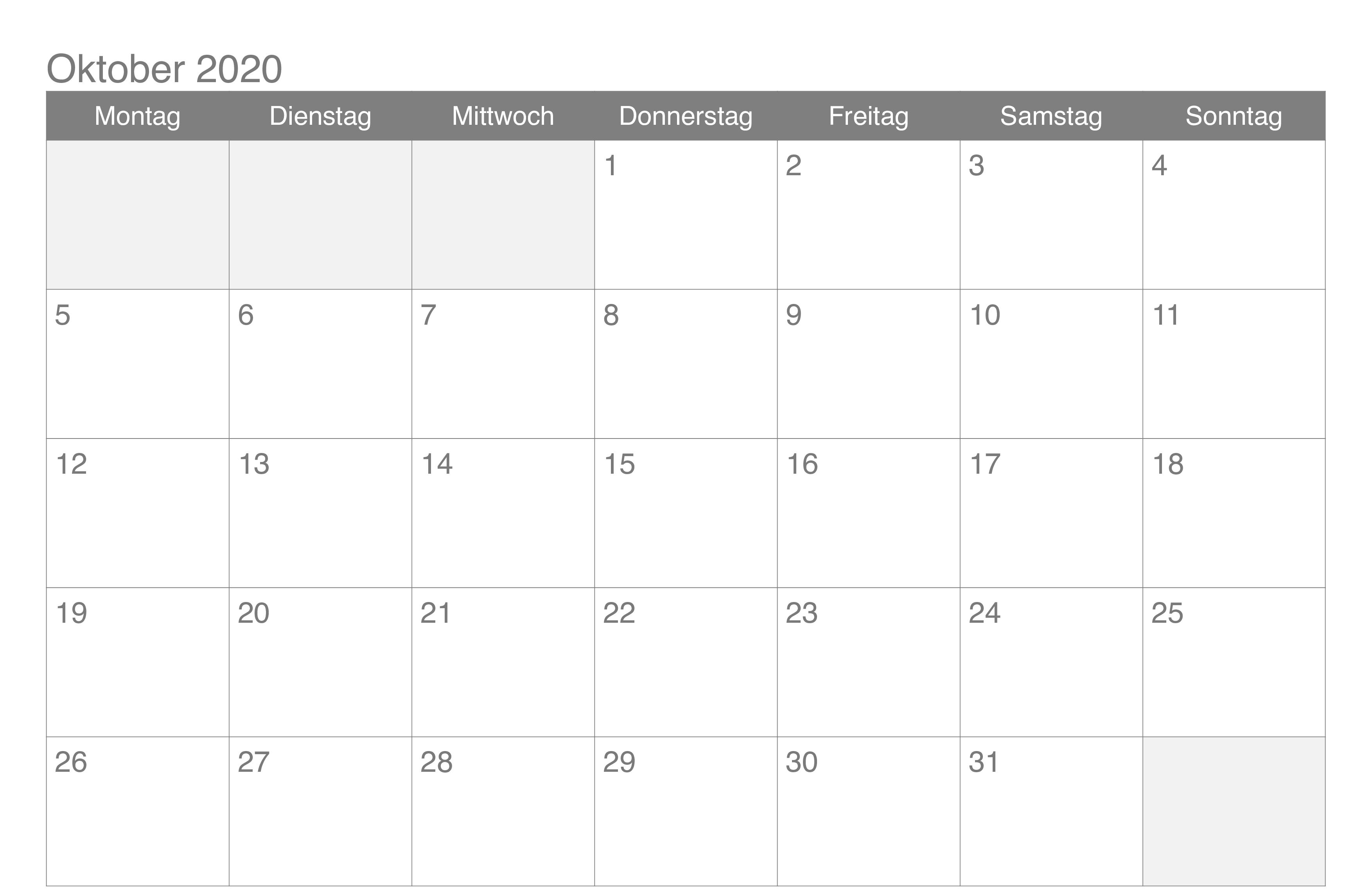 Oktober 2020 Kalender zum Ausdrucken