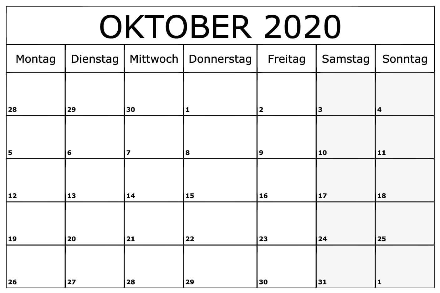 Oktober 2020 Leere Kalender