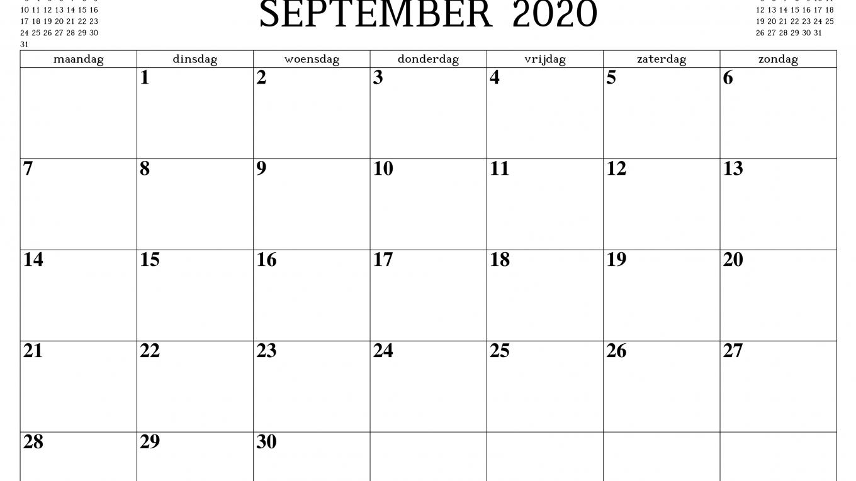 September 2020 Kalender Druckbare