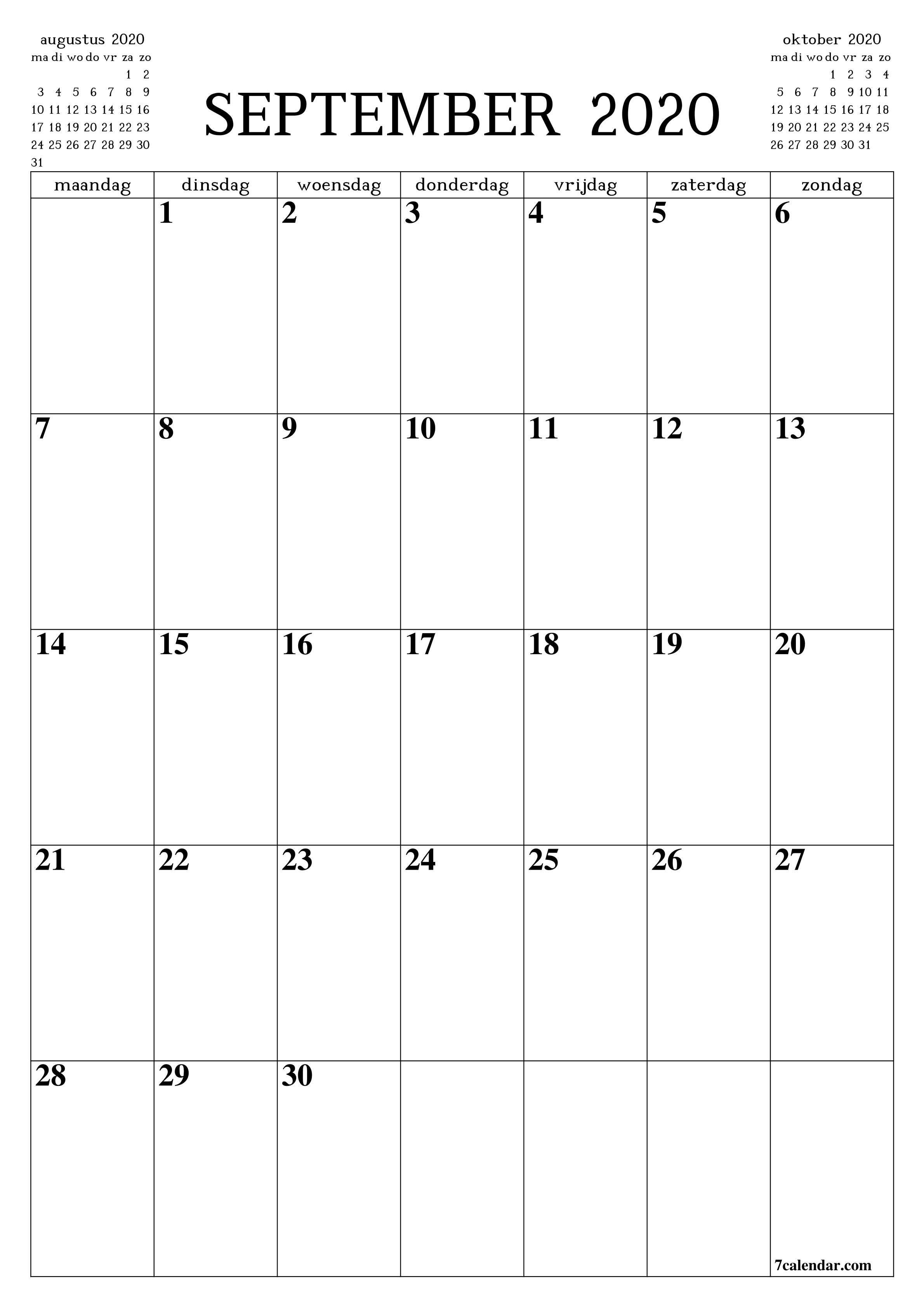 September 2020 Kalender Vorlage