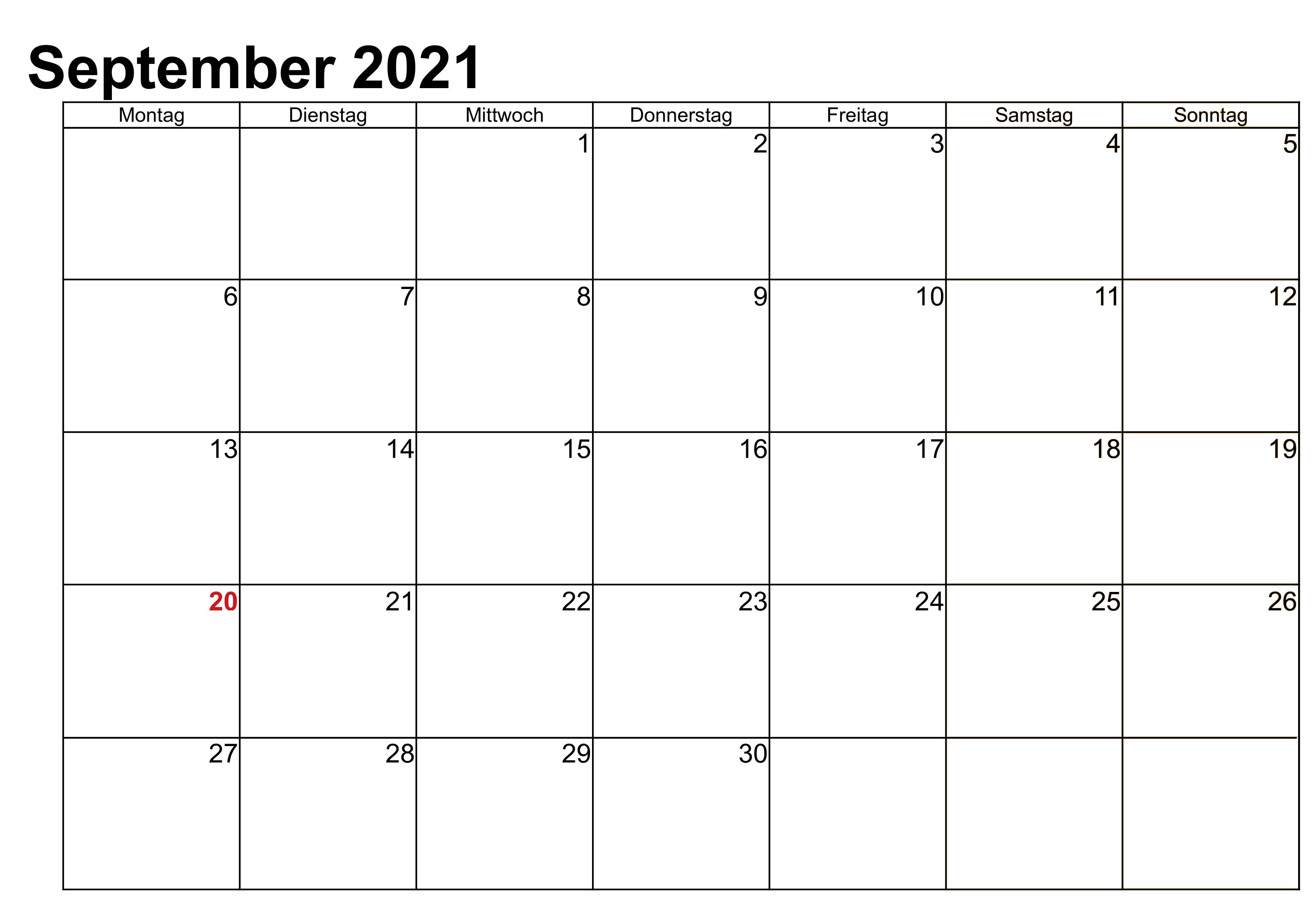 September 2021 Kalender Druckbare