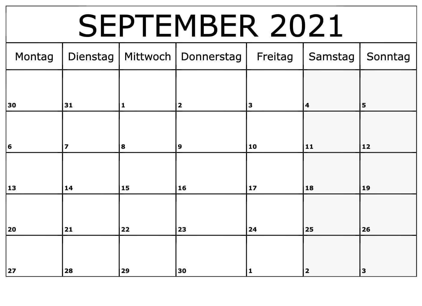 September 2021 Kalender Leere Vorlage