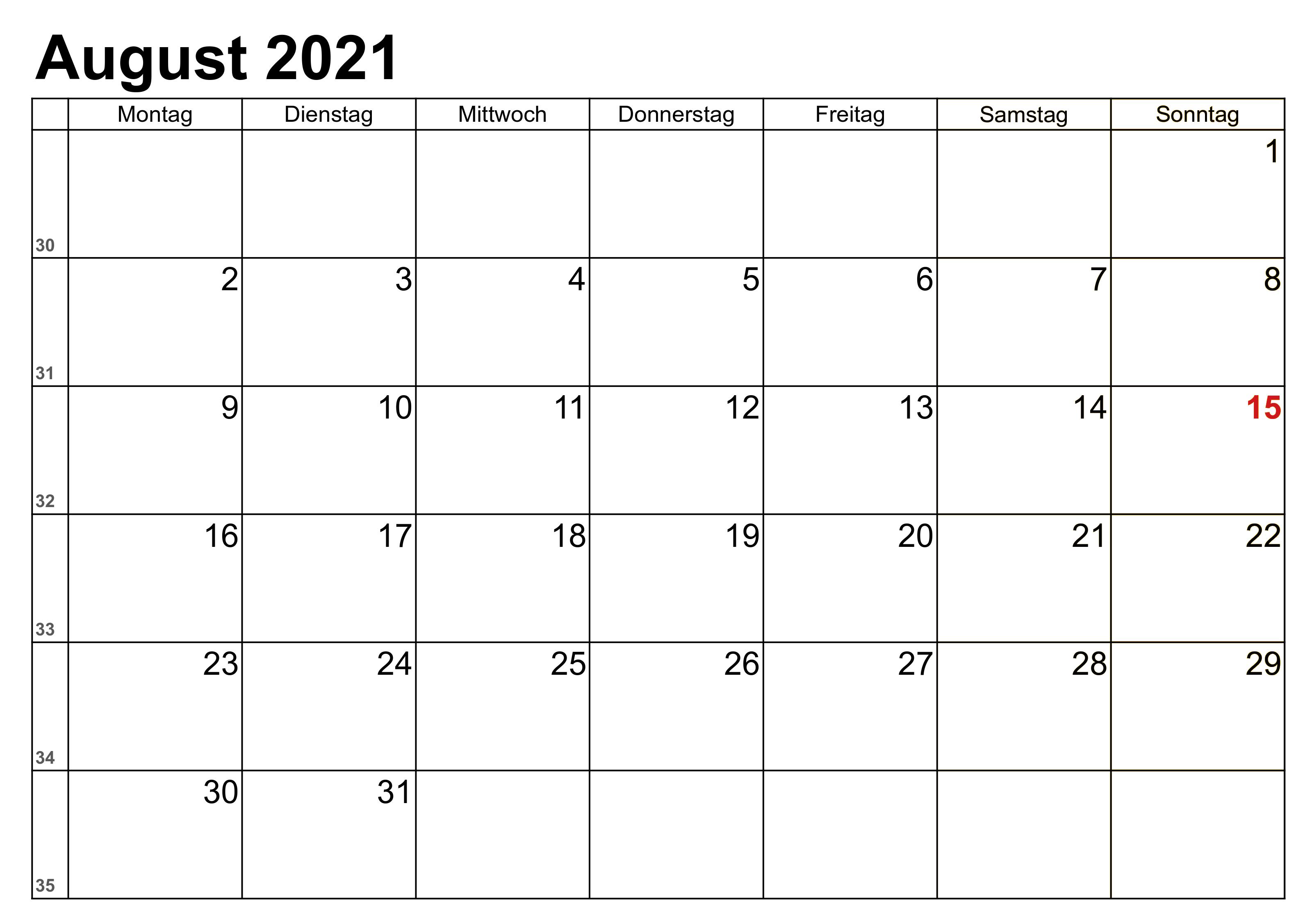 kalender august 2021 zum ausdrucken