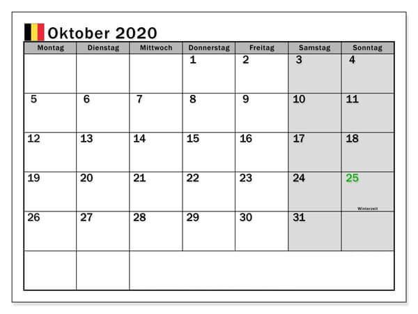 kalender mit feiertagen Oktober 2020