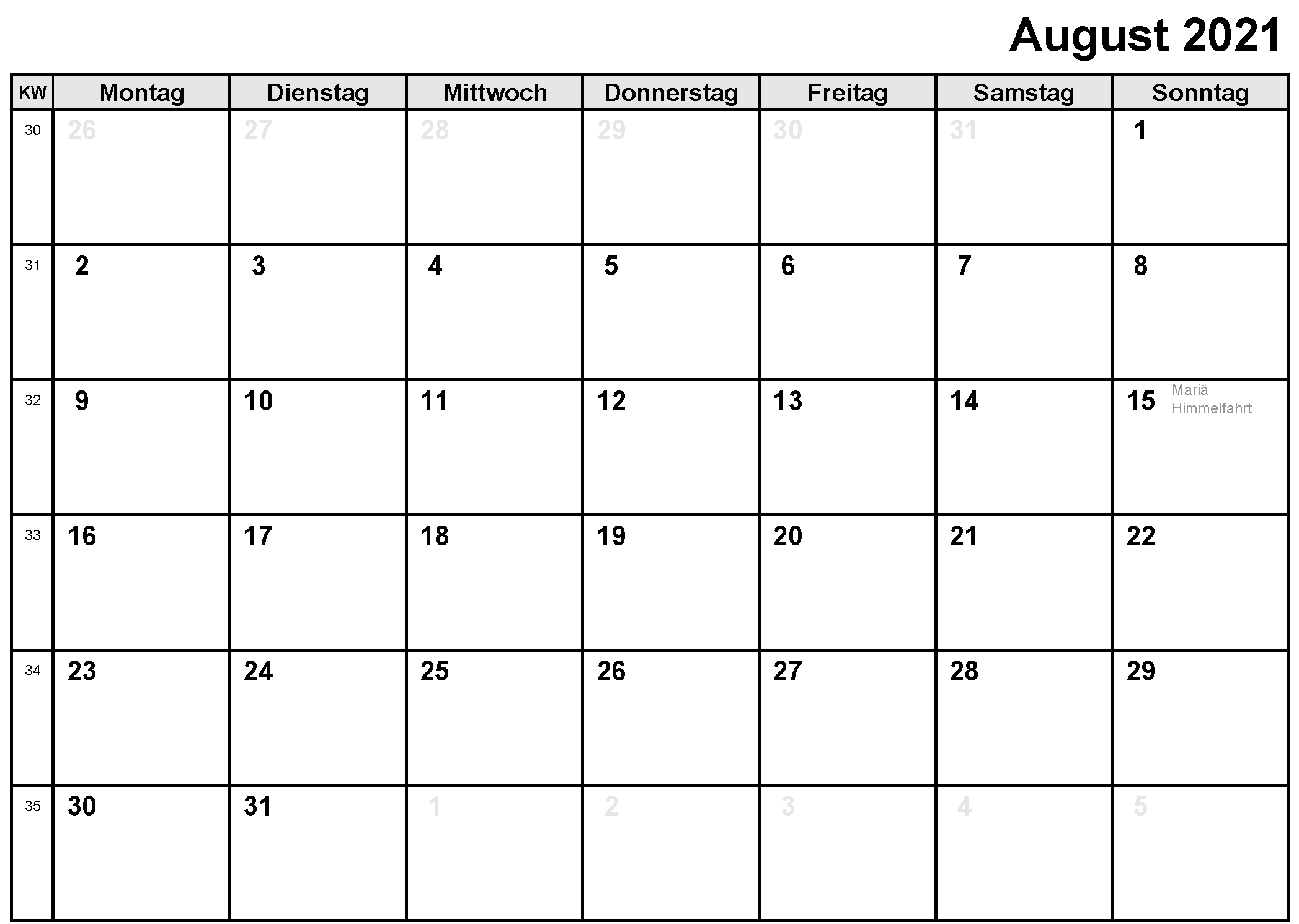 kalender monat august 2021